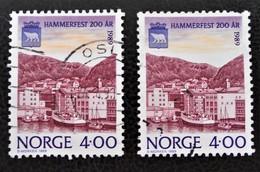 BICENTENAIRE DE LA VILLE DE HAMMERFEST 1989 - OBLITERES - YT 973 - MI 1016 - VARIETES D'OBLITERATIONS - Norvège