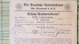 DAF Deutsche Arbeitsfront, Ersatz-Ausweiskarte, Helfer Marine Werft,  Wilhelmshaven - Documenti