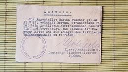 Ausweis Zur Berechtigung Zum Betreten Der Kaserne In Borkum - Dokumente