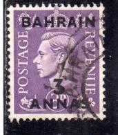 BAHRAIN BAHREIN 1948 1949 KING GEORGE VI 3a USATO USED OBLITERE' - Bahrein (...-1965)