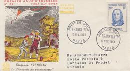 Enveloppe  FDC  1er  Jour   FRANCE   FRANKLIN   1956 - 1950-1959