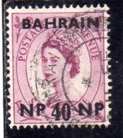 BAHRAIN BAHREIN 1957 1959 QUEEN ELIZABETH II REGINA ELISABETTA 40np USATO USED OBLITERE' - Bahrein (...-1965)