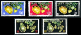 POLYNESIE 1977 - Yv. Service 11A à 15A **   Cote= 32,65 EUR - Fruits (5 Val.)  ..Réf.POL24235 - Service