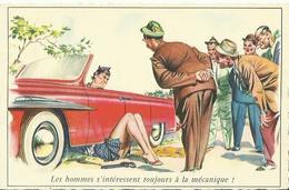 """CPA Fantaisie Humoristique érotique - """" Les Hommes S'intéressent Toujours à La Mécanique ! """". - Humour"""