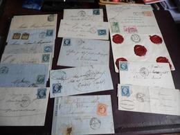 Un Lot De  12  Lettres Type Napoléon Plus Une Lettre  1937 En Valeurs Déclaré Plus 1 Lettre Type Mouchon - 1853-1860 Napoléon III
