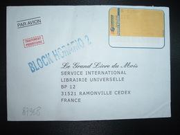 LETTRE Par Avion Pour La FRANCE VIGNETTE S 1,50 Du 21/06/2000 + Griffe Bleue BLOCK HORARIO 2 - Affrancature Meccaniche/Frama