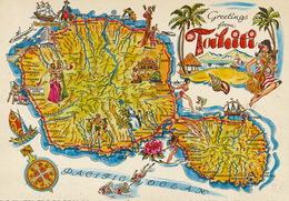 Tahiti Map . Dessin. Vahiné . Danseuses . Carte Geographique . Shell. Diving - Polinesia Francese