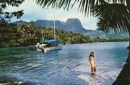 Escale à Moorea Vahiné Au Bain.  Timbrée Papeete 1975 - Polinesia Francese