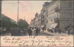 Handkolorierte Künstlerkarte Marienbad Kaiserstraße 24.10.1903 Nach ST. JOHANN - Ansichtskarten