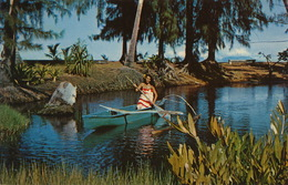 Pointe Venus Tahiti Charmante Vahiné Dans Pirogue à Balancier - French Polynesia
