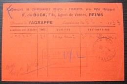 Reims Gare 1933 F. De Buck Charbonnages Belges à Frameries, Cachet Robert Espagne Sur Carte Pour Pont Sur Saulx (Meuse) - Marcophilie (Lettres)