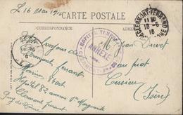 Guerre 14 Hôpital Temporaire N°82 Clermont Ferrand FM CAD Clermont Fd 16 5 16 CPA Auvergne Chemin De Fer Puy De Dôme - Marcophilie (Lettres)