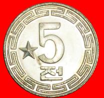 + 1 STAR: NORTH KOREA ★ 5 CHON 1974 UNC MINT LUSTER! LOW START ★ NO RESERVE! - Korea (Nord-)