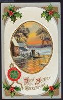 JOYEUX NOEL WEIHNACHTEN CHRISTMAS EMBOSSED Bonne Annee Prosit Neujahr Happy New Year OLD POSTCARD (see Sales Conditions) - Nieuwjaar