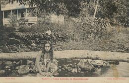 Tahiti . Tetua Vahiné . La Blanchisseuse  Edition Marché Colonial . Cliché Bopp - French Polynesia