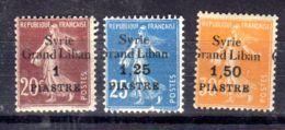 1923 Nov.; Syrie + Grand Liban, Michel-Nr. 189 - 191, Neuf *, Lot 51589 - Syria (1919-1945)