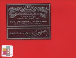 COGNAC 16 Pharmacie Louéraud Rue Angoulêùe Cachets FRAM étiquette Pharmacien Circa 1900 Argentée - Cognac