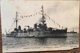 """CPA, Le Cuirassé """"Justice"""", Marine Militaire, N.D Phot.,écrite - Guerre"""