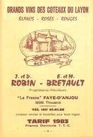 Tarif 1983 - Vins Coteaux Du Layon - Faye-d'Anjou - Etiquettes