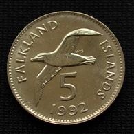Falkland Islands 5 Pence 1992. Birds. Queens. Coin KM4.1 - Falkland Islands