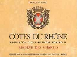 Côtes Du Rhône - Rserve Des Chartes Léopold Ranc - Etiquettes