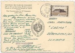 CARTE POSTALE 1955  AVEC TIMBRE A 30 FR CHATEAU DU CLOS DE VOUGEOT - Poststempel (Briefe)