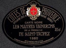 Côtes De Provence - Carte Noire Les Maîtres Vignerons De La Presqu'île De Saint-Tropez 1980 - Etiquettes