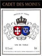 Cadet Des Moines - Vin De Table, Castel Frères - Etiquettes