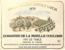 Domaines De La Famille Coulomb - Coteaux Varois 1979, St Maximin Seillons - Etiquettes