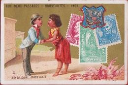 Chromo Carte Publicitaire - Lyon - Aux Deux Passages Nouveautes Etats-Unis Afro American Romance Reclame Publicite Pub - Autres