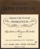 Château Boyd-Cantenac - Grand Cru Classé Margaux 1979, Guillemet, Cantenac - Etiquettes