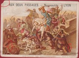 Chromo Carte Publicitaire - Lyon - Aux Deux Passages Bataille De Taillebourg (Pli) Reclame Publicite Pub - Autres