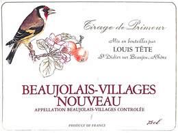 Beaujolais-Villages Nouveau Louis Tête Oiseau Tirage De Primeur - Etiquettes