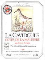 La Cavidoule - Côtes De La Malepere 1991 Clermont L'Hérault - Etiquettes