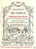 Château De Môle - Puisseguin-Saint-Emilion 1988 - Etiquettes