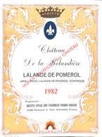 Château De La Rolandière - Lalande-de-Pomerol 1982 Pierre Couffin - Etiquettes