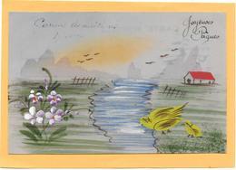 Carte CELLULOID Dessinée Et Peinte Main à Décor De Paysage, Oiseaux, Maison - Fancy Cards