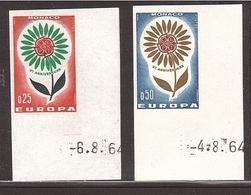 MONACO Lot MC03 NON DENTELÉ Europa Paire 1964 ** Cdf Daté - Variétés
