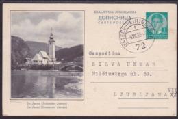 Bohinjsko Jezero, Ilustrated Postcard, Railway TPO Cancellation Rateče - Ljubljana 72, 1938 - 1931-1941 Kingdom Of Yugoslavia