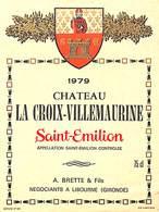 Château La Croix-Villemaurine, Saint-Emilion 1979, Brette à Libourne - Etiquettes