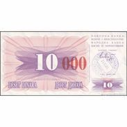 TWN - BOSNIA-HERZEGOVINA 53h - 10.000 Dinara 1993 (1992) Handstamp Date 24.12.1993 - SARAJEVO - Tall Red Zeroes UNC - Bosnië En Herzegovina