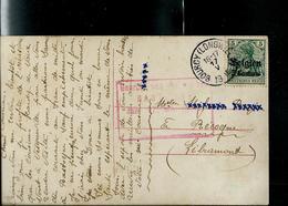 Carte Fantaisie: Obli.  Bourcy (Longwille) 17/05/1918  Pour Recogne  + Censure Rouge De Bastogne - [OC38/54] Ocupacion Belga En Alemania