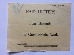 BERMUDA - Post Office Label - `Paid Letters From Bermuda For Great Britain North` - Bermuda