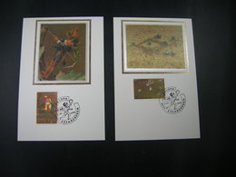 """BELG.1989 2323 & 2324 FDC's Maxicards Zijde/soie (Erembodegem) : """" Europa 1989 """" - FDC"""