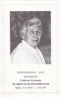 DOODSPRENTJE CATHERINE GERMAINE DE BROUWER  -  DEDOBBELEER  °  HALLE 1910 + 1987  FOTO - Images Religieuses