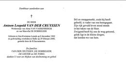 DOODSPRENTJE ANTOON LEOPOLD VAN DER CRUYSSEN ° LENNIK 1902 + HALLE 2000 FAM  DE DOBBELEER - Devotion Images