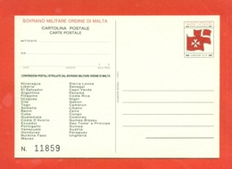 INTERI POSTALI  - SOVRANO ORDINE DI MALTA - S.M.O.M. -  MN 3 - 1991 - Sovrano Militare Ordine Di Malta