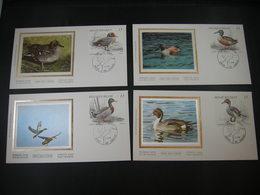 """BELG.1989 2332 2333 2334 & 2335 FDC's Soie/zijde ( Brus ) :Canards,Eenden """" Nature / Natuur """" - 1981-90"""