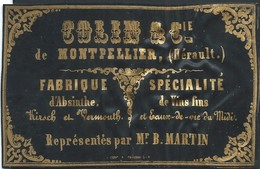 Carte Plastifiée Colin Montpellier Vins Fins , Absynthe ...   8,5 X 5,5 Cm - Montpellier