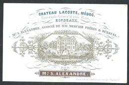 Carte Porcelaine Château Lacoste Médoc Bordeaux Mr Alexandre , Mercier Et Dubrel     9 X 6 Cm - Bordeaux